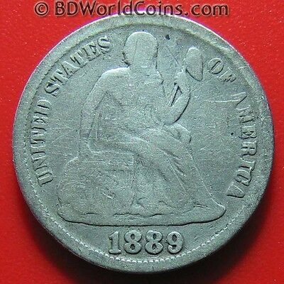 1889 SEATED LIBERTY DIME 10 CENTS SILVER USA AMERICAN COLLECTABLE COIN 18mm