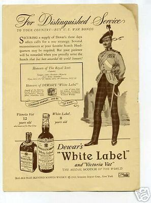 Dewar's White Label Scotch Whiskey Original Vintage Ad