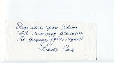 Frankie Carle Jazz Big Band Bandleader Sunrise Serenade Signed Autograph Note