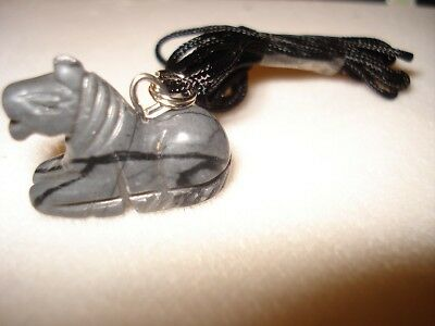 Grey & Black Jasper Healing Gemstone Horse Necklace