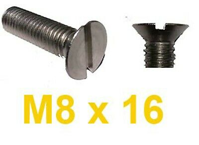 M8 x 16 Stainless Countersunk Slotted Machine Screw 8mm x 16mm Slot CSK x10