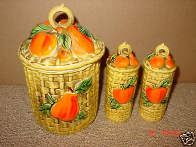 Vintage,Lefton,Canister,Shakers,Fruit,Basket Weave,Old