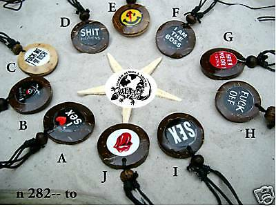 10 x  Surferkette Funny Buttons Halskette Surf /n282 to