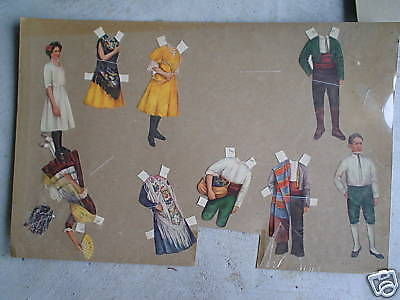 RARE Vintage Paper Dolls Woman and Boy LOOK