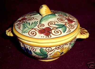 Italy Pottery FB Yellow Floral Sorrento Sugar Bowl & Lid