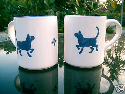 Set Of 2 Blue Stencil Cat Mugs Oak Tree Logo Great Gift