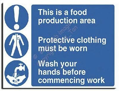 Food Production Protective Clothing Wash Hands Sign A.Vinyl-600x450mm(MU-021-AV)