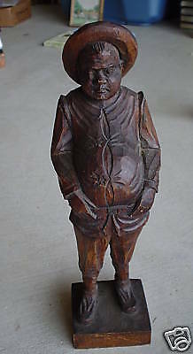 Vintage Hand Carved Wood Fat Man Statue Carving LOOK