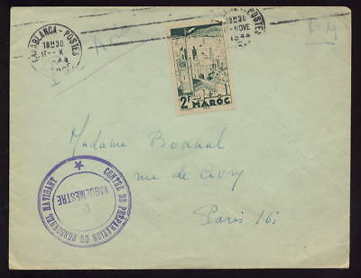 Ww2 Morocco France 1944 Cover..military Embarkation Pmk