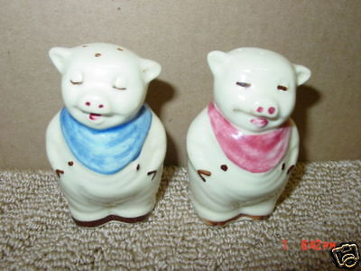 Vintage,Shawnee,Shakers,Pig,Smiley,Blue,Pink,Old,Animal