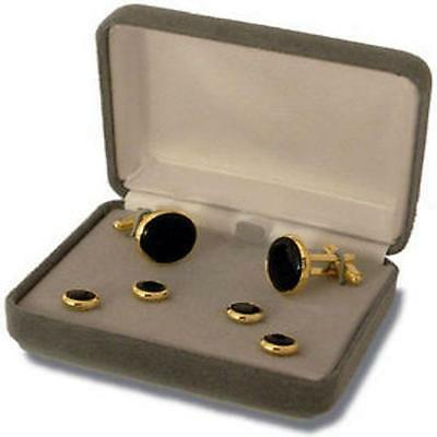 USN Navy Cuff Links & Shirt Stud Set 4 Black Onyx  Gold    NEW   (Made in USA)