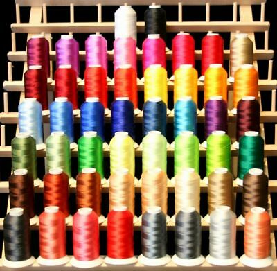 New 50 Cones Poly Machine Embroidery Thread Jewel Color