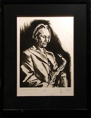 """Ronnie Wood """"Charlie with Saxophone"""" SOLD OUT framed Hand Signed Rolling Stones"""