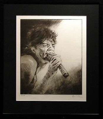 """Ronnie Wood """"Mick Jagger"""" custom framed Hand Signed Artwork, The Rolling Stones"""