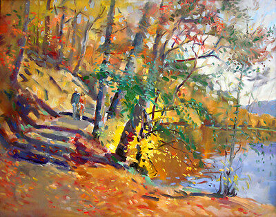 Golden Fall in Bear Mountain, painting, Giclee print on canvas by Star