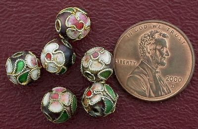 Six 8Mm Floral Round Burgundy Cloisonne Bead
