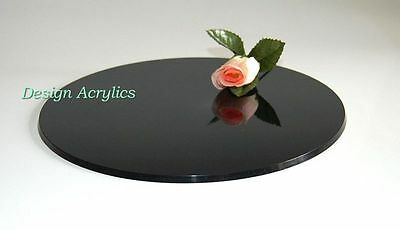 "15"" Round Acrylic Wedding Cake Board Plate Base - Black"