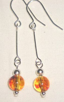 Beautiful Amber Coloured Art Deco Style Drop Earrings