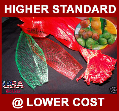 1000 PP Mesh Net Bag 15 inch Long Red for Produce Vegetable Fruit Nuts Toys +