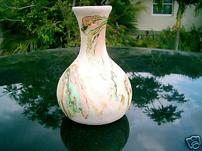 "NEMADJI VASE POTTERY USA  MARK 6.5"" GREEN BROWN  NICE"