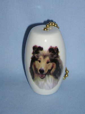 Rough Collie Dog Sable Fan & Light Pull Porcelain 2 In long 6 In Chain Decal-H
