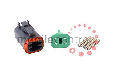 Deutsch DT 06 4S plug W4S wedgelock DT06-4S contacts for 0.5mm > 1.0mm CSA wire