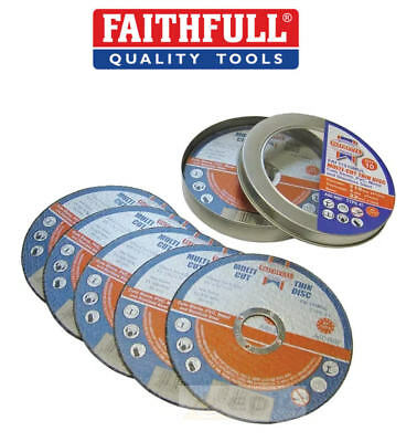 "FAITHFULL 10 x 115mm 4-1/2"" Thin Slit 1mm Multi Cutting Discs/Blades Metal/Stone"