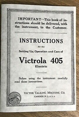 VICTROLA 405 ELECTRIC Set-up & Instruction Manual reprint