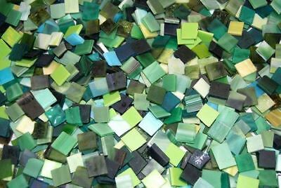 "500 1/2"" Shades of Green Stained Glass Mosaic Tiles"