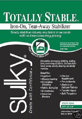 "SULKY TOTALLY STABLE EMBROIDERY STABILIZER!20""x25yd!WHI"