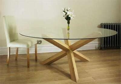 OAK pedestal glass round 4' 6 DINING TABLE for 8 CHAIRS