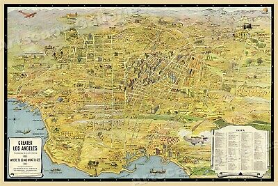 1932 Los Angeles Panoramic Sightseeing Map 24x36