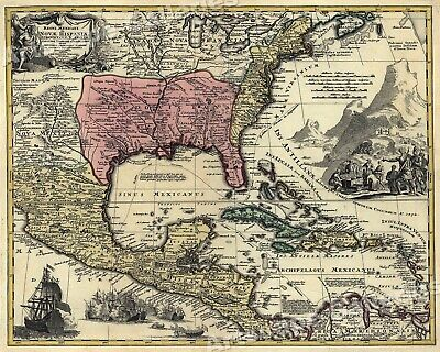 1759 North America Map of New Spain Spanish Colonies - 24x30