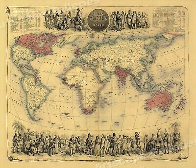 1850 Vintage Style World Map of the British Empire - 16x20