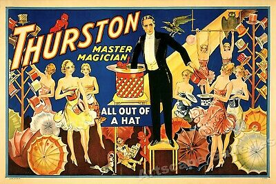 """Thurston Master Magician"" Classic 1910 Magic Show Poster - 16x24"