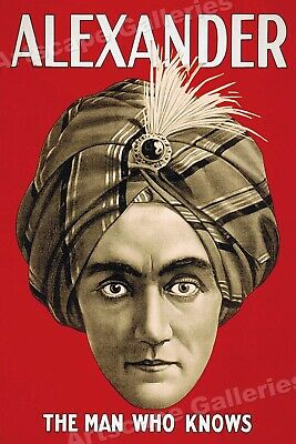 "1920s Classic Magic Poster ""Alexander The Man Who Knows"" - 16x24"