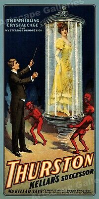 1908 Classic Magic Poster Thurston The Whirling Crystal Cage - 18x36