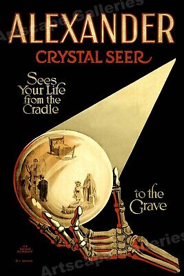 """""""Alexander - Sees Your Life"""" Crystal Ball Classic 1910 Magic Poster - 24x36"""