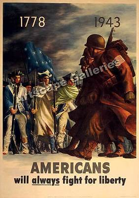 """Fight For Liberty"" World War II Historic Poster 17x24"