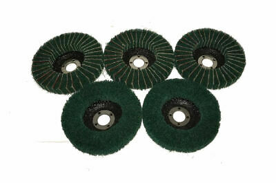 "Rdg 4"" Green Scotch Brite / Emery Metal Flap Disk Polishing Abrasive X 5"