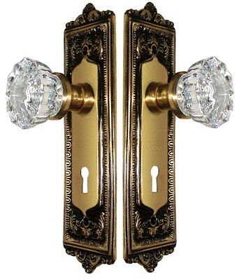 CRYSTAL GLASS & ANTIQUE BRASS FRENCH KNOB DOOR SET (or you request PASSAGE  SET)