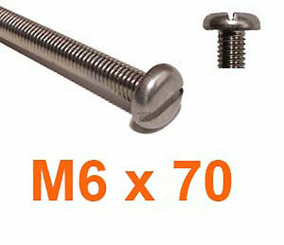 M6 x 70 Stainless Slotted Pan Head Machine Screws- 6mm x 70mm Machine Screws x10