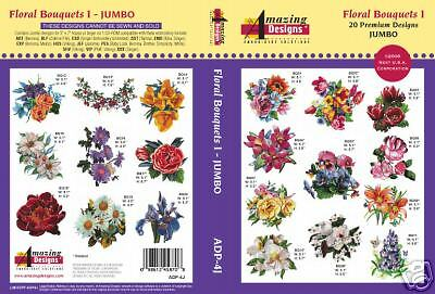 Amazing Designs Embroidery CD- Floral Bouquets 1! +GIFT