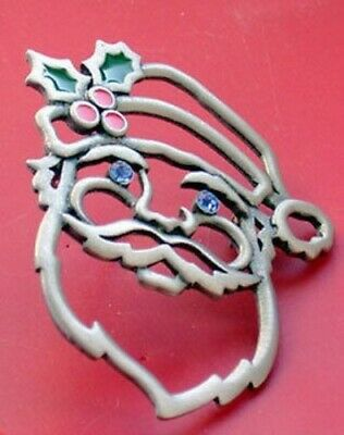 Santa Claus Face Brooch With Blue Crystal Eyes