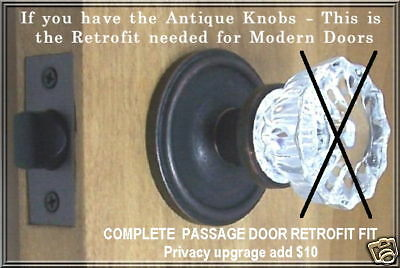 Retrofit Kit-fit Antique Knobs in Modern drilled Doors