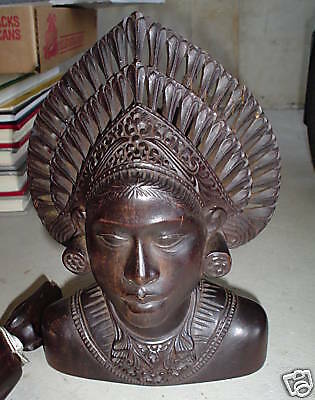 Unique Antique Hand Carved Wood Woman Bust Head