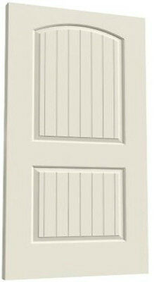 Santa Fe 2 Panel Arch Top V-Groove Primed Molded Solid Core Wood Doors - Prehung