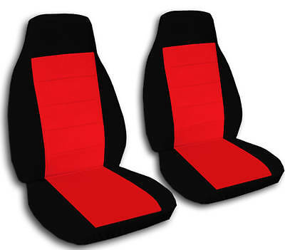 2 Front Black And Red Car Seat Covers Universal Size