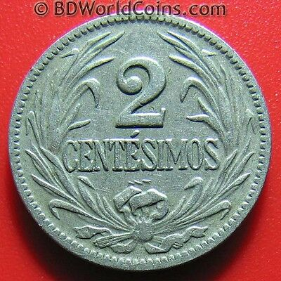 1924 URUGUAY 2 CENTESIMOS RADIANT SUN SOUTH AMERICAN WORLD COIN CU-NI 20mm