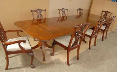 Regency Pedestal Dining Table 10 Queen Anne Chairs Set